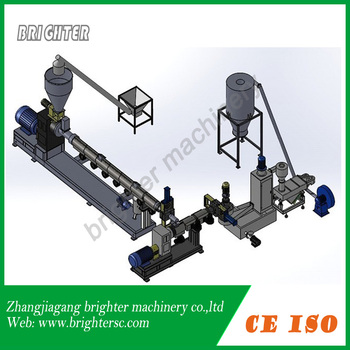 Rigid regrinded plastic flakes granulation line ,double stage ,water ring