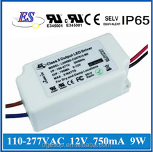 9W 750mA 120Vac to 12Vdc Constant Current Dimmable LED Driver Power Supply with ELV Dimming,UL CUL CE approval