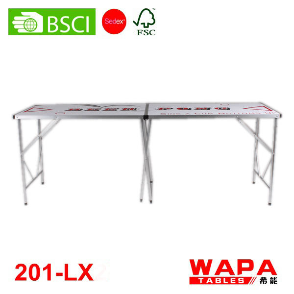 2 Sections (1.98m/2.14m) aluminum red beer pong table