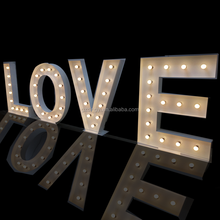 factory custom led bulb wedding love iron marquee alphabet letters with lights