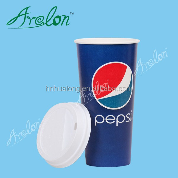 22oz cold drink Pepsi Cola one-off paper cup with lid