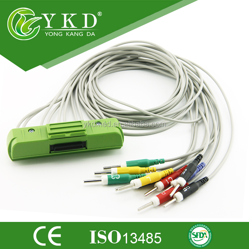 CE/ISO approved medical supply for 12leadwires one-piece EKG cable ,Nihon Kohden ECG-93201.