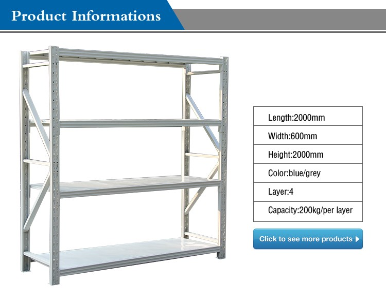 warehouse rack supplier collapsible metal storage rack 2000*600*2000*4level 300kg/level