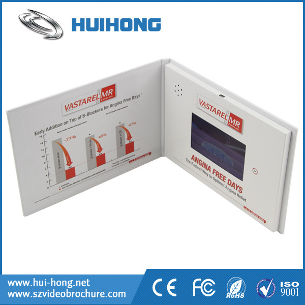 New Design Hard Cover Notebook Video brochure with LCD Screen