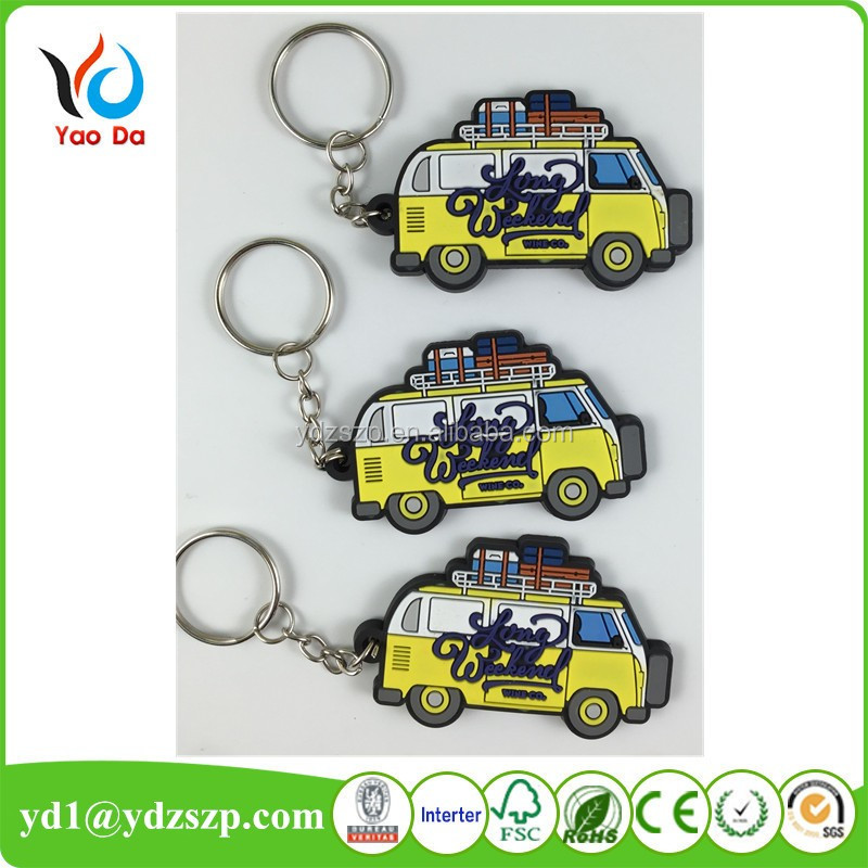 2D/3D rubber Soft pvc keychain car key holder shaped key chains