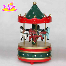 Mini wooden toy carousel music box,Arousel horse ride music box,Decorative Christmas Gift carousel horse music box W07B009B