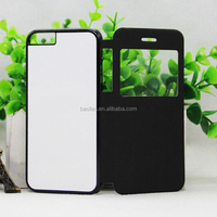 2d sublimation blank leather phone case with open windown ,the metal sheet insert for ip6 2d phone heat press phone case