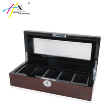 High quality 5 slots watch packaging box, acrylic window on top wood watch box with key lock