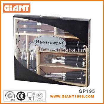 26pcs Plastic Handle Cutlery Set with Wooden Box