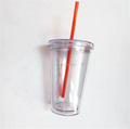 Double Wall Plastic Cup Tube Cup Japan with Straw for Beverage