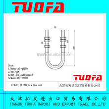 tuofa electric link fittings stainless steel U bolt with nut
