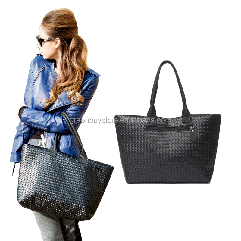 Hot Sell Women Leather Handbag Tote Shoulder Bags Large Capacity PU Weave Fashion Design Handbags