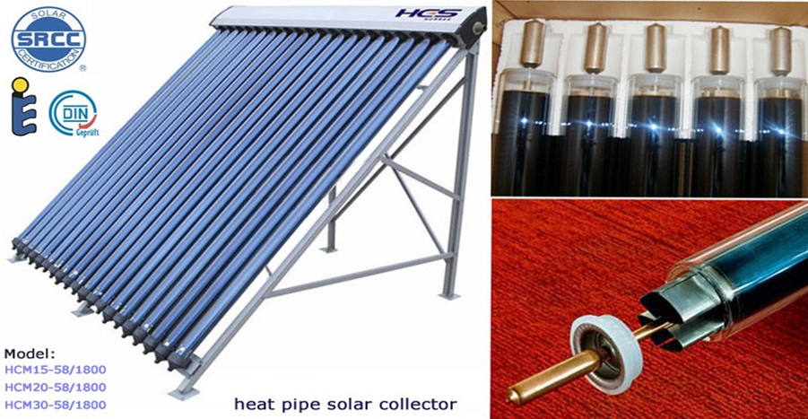 2016 NEW model 20 30tubes SRCC, EN12975 solar keymark heat pipe solar collector for split solar water heater