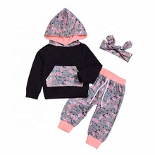 Long sleeve vest trousers with hood three-piece <strong>Children</strong> <strong>set</strong>