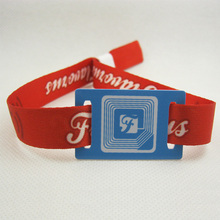 Custom logo festival uhf rfid woven wristband polyester nfc fabric wristband for events