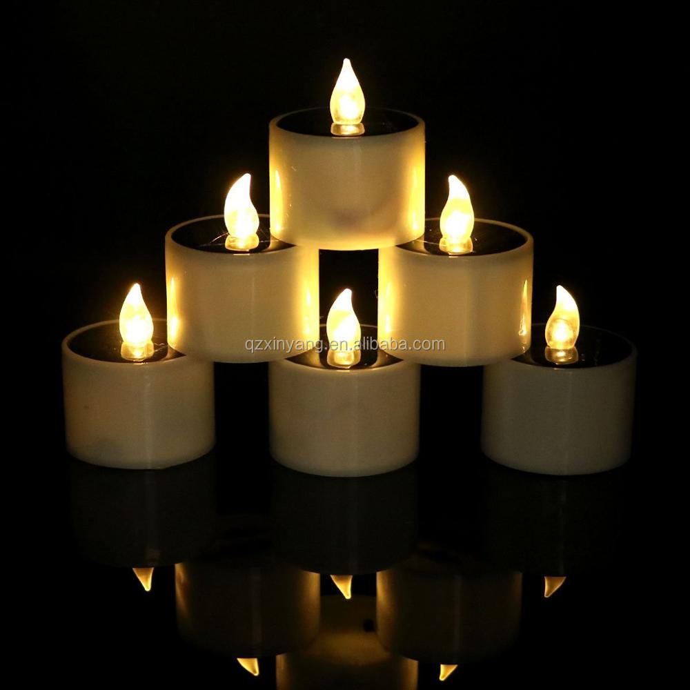 Hot sale wedding decoration warm-white flickering plastic plastic candle