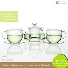 Foodgrade Newest Design Glass Microwavable New Fashion Teapot