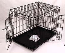 Manufacture metail iron wire dog crtae dog cage with plastic tray