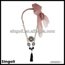 Names Of Black Precious Stones Tassels Pendant Curb Chain Ribbon Necklace
