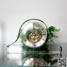 Small transparent table crystal desk time clock