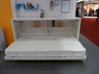 Space Saver wooden Wall Bed-2013 innovative Free standing space saving murphy folding horizontal wall bed with bookcase/desk