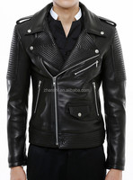 European Style Latest Black Motorcycle PU Leather Jacket For Men