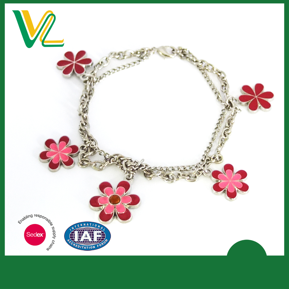 Custom design trendy Metal with Flower Imitation rhodium Lobster claw clasp Jewelry Bracelet