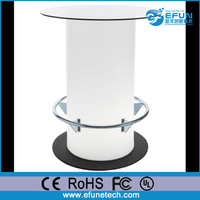 durable PE LED home bar furniture, modern led pub table with high glass top