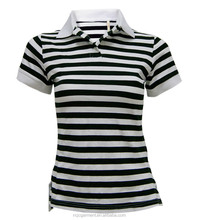 good quality new design t shirt for women wholesale stripes polo shirts