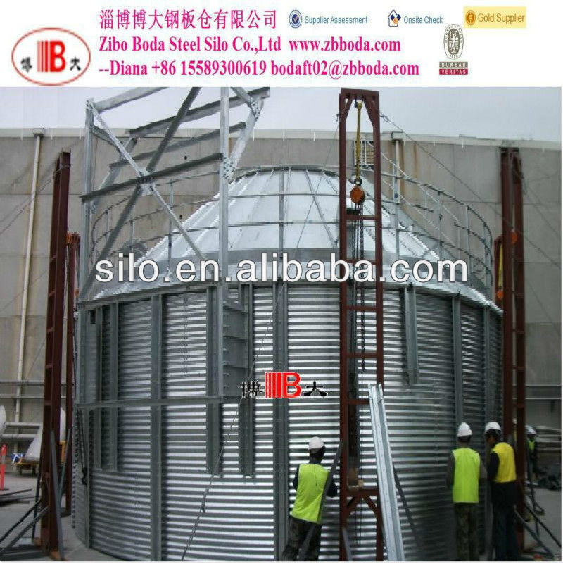 Cone bottom galvanized grain steel silo with 45 / 60 degree hopper