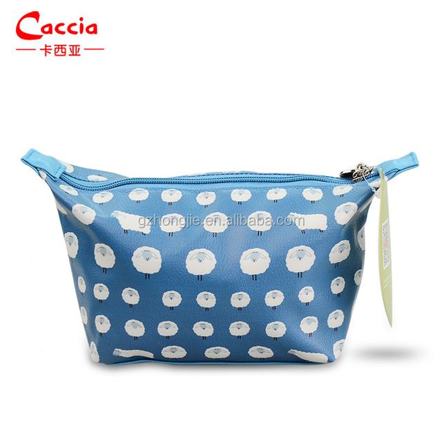 High Quality artist print blue makeup bag soft PVC cutom cosmetic bag with zipper