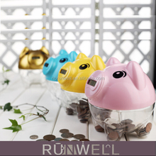 Plastic piggy bank with coin counter,plastic digital piggy bank,bank digital coin counting money jar