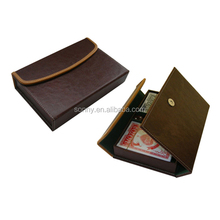 leather card holder set with two deck poker and five dices