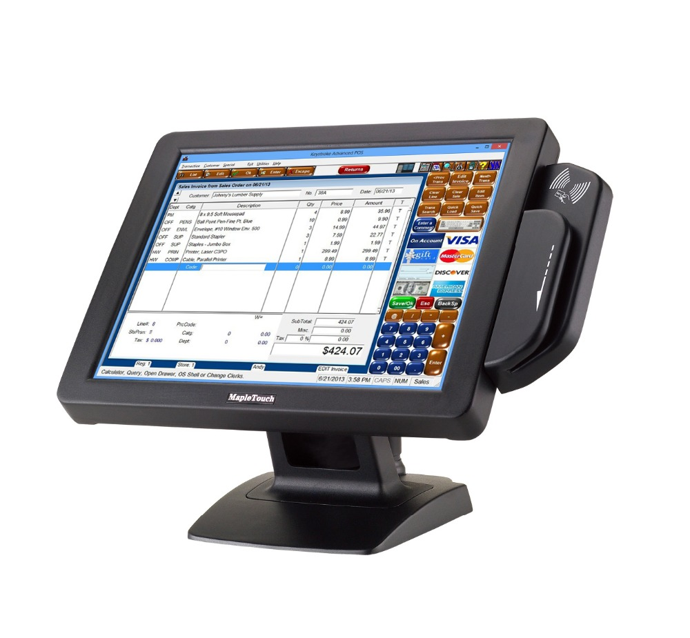 17 inch high quality pos system/ fanless mapletouch pos MP176