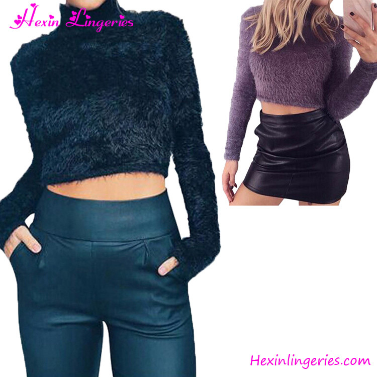 High Quality Women Black Hand Knitted Winter Long Latest Design Ladies Sweater