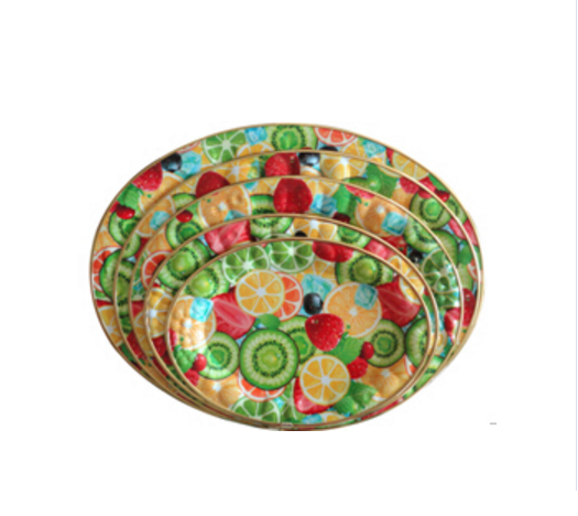 High quality fruit design oval large shallow plastic tray