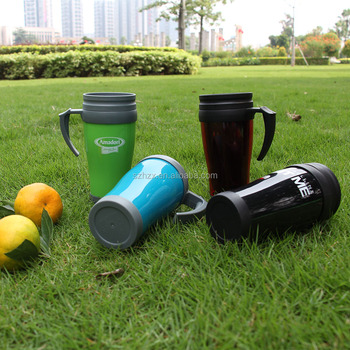 reusable double wall coffee cup with lid