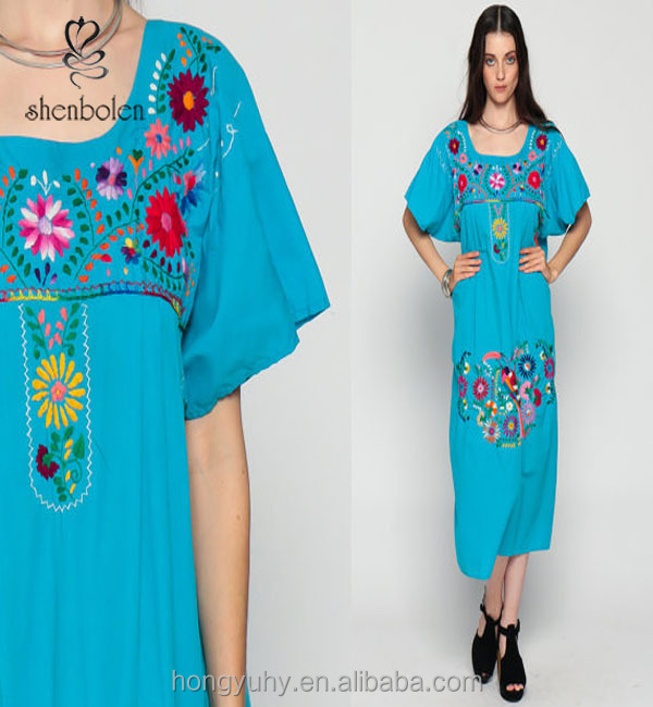 M42240 Wholesale MEXICAN Embroidered Dress Midi Boho Cotton Tunic 70s Hippie Floral Ethnic 80s Bohemian Vintage Embroidery Blue