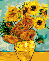 Chinese high quality wholesale handmade Van Gogh Sunflowers DIY oil painting