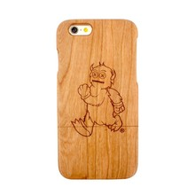 Cartoon Case Wooden Cell Phone Case For iPhone 6,Protective Cover for Apple iPhone 6 4.7''