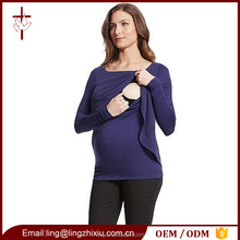 Stylish Two Layers Maternity Nursing Top with Curves Hem