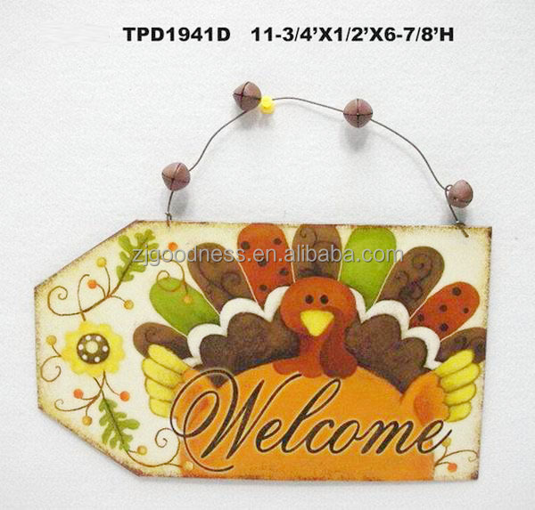 Metal Tin Sign THANKSGIVING FALL TURKEY WALL PLAQUE