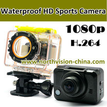 waterproof full HD 1080p sports action camera for diving, bike, helmet