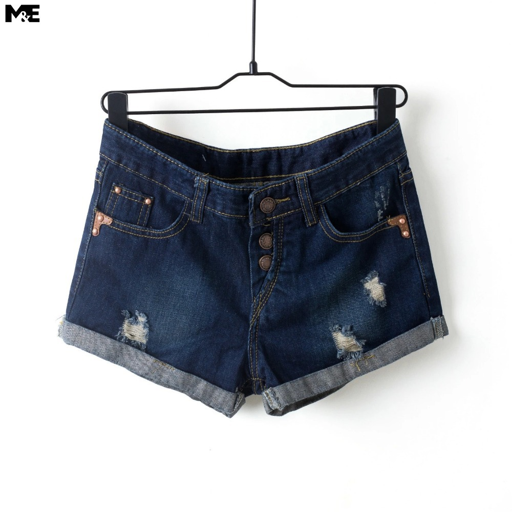 Denim shorts 2015 women clothing fashion summer style shorts women mid waist shorts button fly jeans shorts [4331XR]