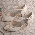 Medium Heel Shoes Wedding Pumps Off White