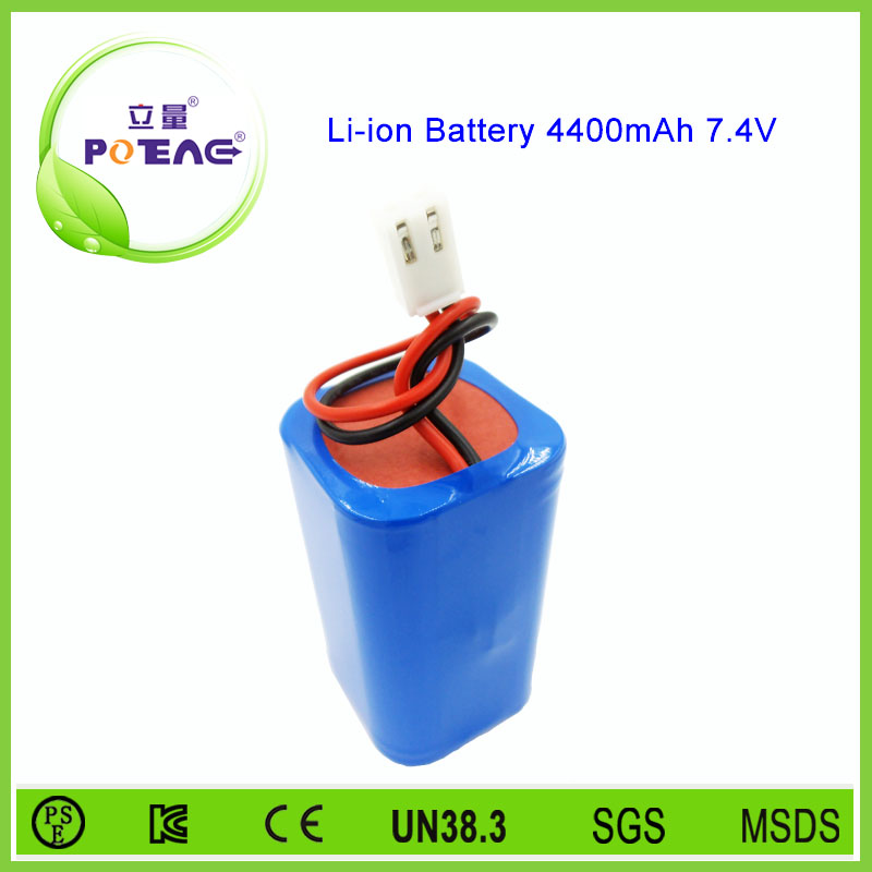 7.4v 4400mah 18650 li-ion battery pack for stage lamp