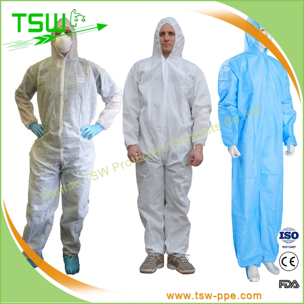 Microporous Fabirc with Taped Seam waterproof disposable coverall