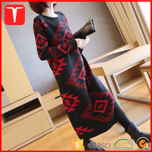 Winter aztec design long sweater dress women
