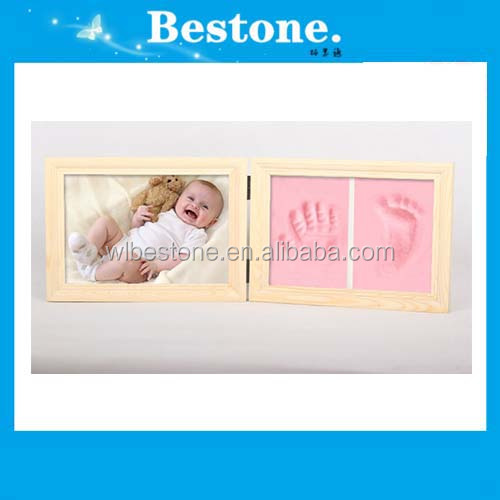 Hot Brown memorial photo picture frame for baby handprints and footprints
