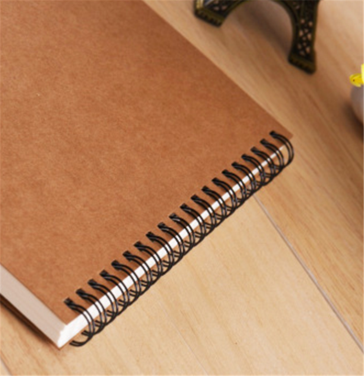 Cheap Wholesale Kraft Black Paper Cover Wire O Double Line A4 A5 Notebook Spiral Cahier For School